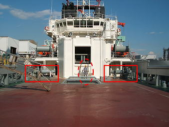 Anchor handling winch installed on the supply vessel